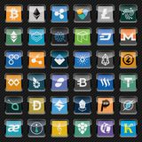 Black rounded square icons with cryptocurrency symbols. Icon set Royalty Free Stock Images