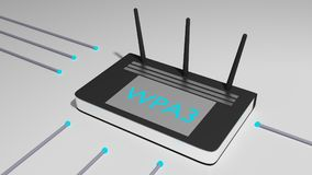 Black router with three antennas and the abbreviation WPA3 cyber Royalty Free Stock Image