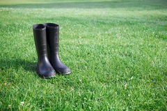 Black rubber boots Stock Photos