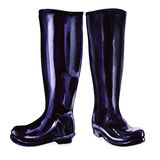 Black rubber boots Stock Photo