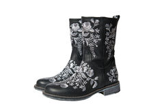 Black rubber boots with white background. Royalty Free Stock Photography
