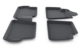 Black rubber car mats isolated on white background. 3D illustration Royalty Free Stock Photos