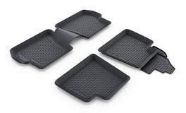 Black rubber car mats isolated on white background. 3D illustration Royalty Free Stock Image