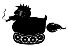 Black rubber duck with cool sunglasses and cigar, on tracks moovement. Farting. Royalty Free Stock Images