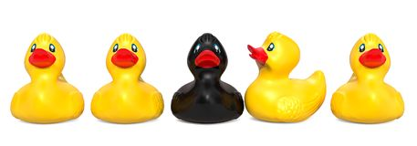 Black rubber duck among yellow rubber ducks. The ugly duckling c. Oncept, 3D royalty free illustration