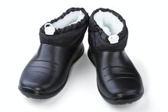 Black rubber female shoes Royalty Free Stock Photography