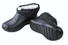 Black rubber female shoes Stock Photos