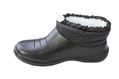 Black rubber female shoes Stock Photography