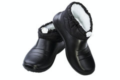 Black rubber female shoes Royalty Free Stock Images