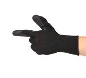 Black rubber glove on hand as gun. Royalty Free Stock Image