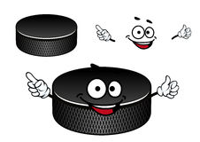 Black rubber ice hockey puck cartoon character Stock Image