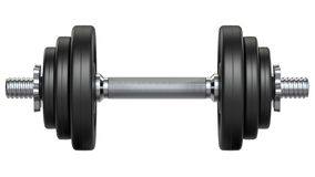 Free Black Rubber Metal Dumbbell Orthogonal Front View. 3d Rendering Illustration Isolated On White Background. Gym, Fitness Stock Photos - 155739923