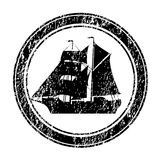 Black rubber stamp with brigantine Royalty Free Stock Photo