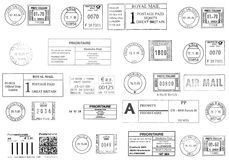 Black  rubber stamps. Black postmarks from western Europe Royalty Free Stock Photos