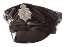 Black rubber stripper police hat Stock Photos