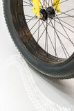 Black rubber tire of bicycle wheel with curve reflection Royalty Free Stock Photography