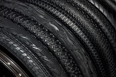 Black rubber tires of mountain bikes for outdoor off-road cyclin Royalty Free Stock Image