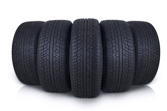 Black rubber tires in studio Stock Photography