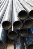 Black rubber water pipes Stock Photo