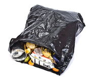 Black rubbish bag. On white Stock Photos