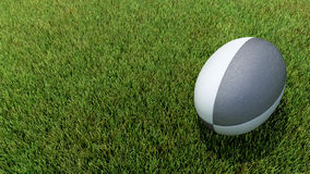 Black rugby ball on grass. 3D black rugby ball on grass V02 Stock Photo