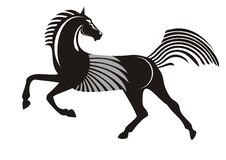 Black running horse. Isolated on a white background Royalty Free Stock Photo