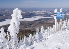 Only black runs!. View from Mt. Tremblant, Canada royalty free stock images