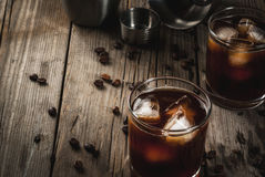 Black Russian cocktail with vodka and coffee liquor Stock Photos