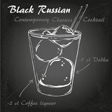 BLACK RUSSIAN Contemporary Classics Cocktai 2. Illustration of Contemporary Classics Black Russian on chalk-board Royalty Free Stock Images