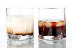 Black russian and white russian cocktails Stock Photography