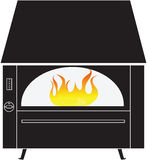 Black rustic fireplace with fire isolated on a white background. Vector illustration Royalty Free Stock Photography