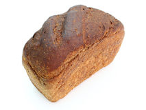 Black rye bread. With the fried crust is isolated on a white background Royalty Free Stock Photos