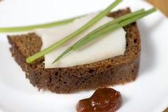 Black rye bread with lard Royalty Free Stock Photo