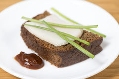 Black rye bread with lard Royalty Free Stock Image