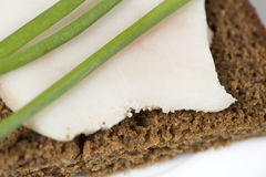 Black rye bread with lard Stock Photos