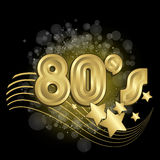 Black 80s. Black and gold 80s vector background Stock Photo