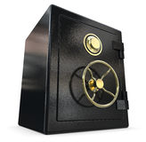 Black safe with gold fittings Stock Images