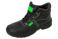 Black Safety Boot with Green Stock Photography