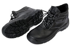 Black Safety Boots - Pair Stock Photos