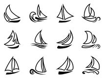 Black sailboat outline icons Royalty Free Stock Photo
