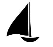 Black sailboat silhouette vector Royalty Free Stock Photo