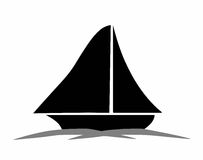 Black sailboat silhouette  Stock Images