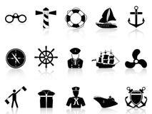 Black sailing icons. Black sailing icons from white background Royalty Free Stock Image