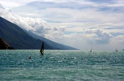 Black Sails Windsurfer on a lake Stock Photo