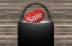 Black Sale Bag Wood Background Stock Photo