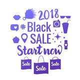 BLACK SALE Start now. Bright Vector banner of shopping 2018. Set of sale symbols isolated. vector illustration