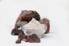 Black Salt - Indian spice powders. Kala Namak or Himalayan Black Salt, also known as Sulemani Namak, Black Salt, Bit Lobon or Kala Noon, is a type of rock salt Stock Photo