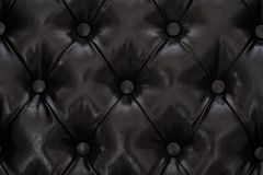 Black sample of an upholstery of a sofa. Black leather texture with buttoned pattern Royalty Free Stock Photography