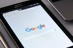 Black Samsung Tablet Display Google Browser on Screen Royalty Free Stock Image