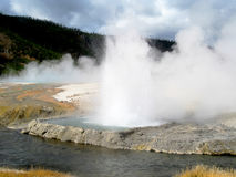 Black sand basin geyser Stock Photo